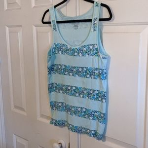 Turquoise flower striped tank top